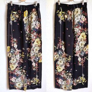 Zara Woman Wide Leg Floral Palazzo Pants
